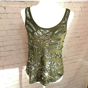 EXPRESS Olive Green Sequins Tank Top